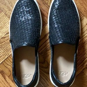 Ugg sparkly black slip on shoes size 7.5.